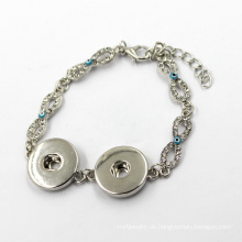 Mode Silber Snap Button Kristall Infinity Charm Armband
