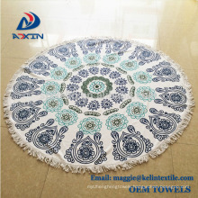 Home textile soft 100% microfiber round beach towel with custom design