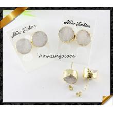 Boucles d'oreilles en pierre gemme au quartz solaire Druzy, Boucles d'oreilles blanches Drusy (FE074)