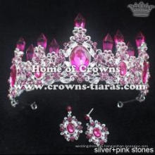 Alloy Crystal Wedding Jewelry Set With Crowns And Earrings