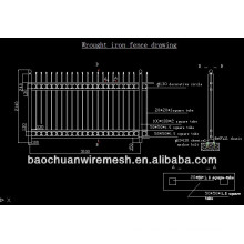 60 'hight schwarzes nettes Stahlmaterial ornamentaler Eisenzaun