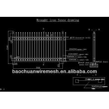 60 'hauts noir structure d'acier agréable clôture en fer ornementale