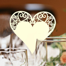 Romantic Heart Shape Laser Wine Glass Card for Party