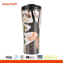 Changed Paper Insert Double Wall Travel Plastic Mugs