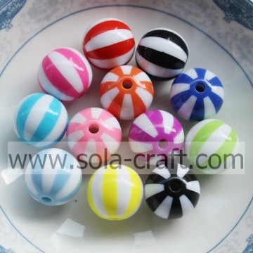 New Design Round Striped Bubble Gum Resin Beads