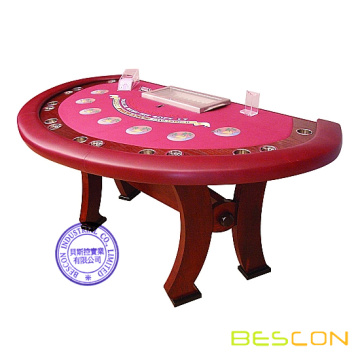 Casino Style Blackjack Table luxe demi rond solide bois Table de Poker avec Position de revendeur