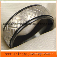 18k negro plateado tallado anillo de joyería de titanio cuerpo (tr1829)