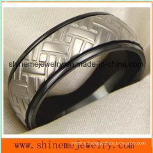 18k Black Plated Carving Titanium Body Jewelry Ring (TR1829)