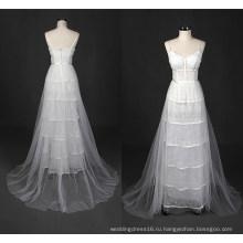 Настоящая Тюль Линия Свадебное Платье Пляж Wy7322