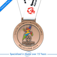 High Quality Brass Plated Running Medal for Special Olympic Games