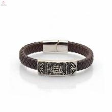 Mais novo feito à mão marrom na moda logotipo pulseira jóias