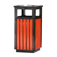 Dustbin em madeira de aço inoxidável ao ar livre (B13310)