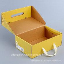 Personalizar dobrável corrugado papel sapatos caixa de embalagem com alça