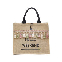 Eco-Friendly Customized Logo Black Handle Linen Jute Burlap Bag Gift Bag with Tassel