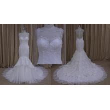 Vestido de novia de la sirena de Overlace vestido de novia con cuentas
