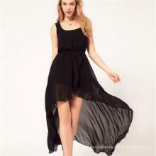 Sexy Irregular Beach Hem Sundress Maxi Chiffon Girl Dress