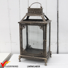Rectangular Vintage Metal Framed Glass Floor Standing Lanterns