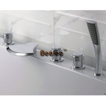 Mezclador de la ducha de la tina de baño de la cascada de cobre amarillo con el sistema 5PCS