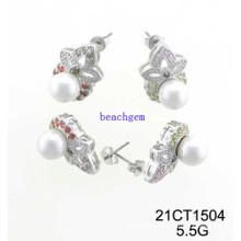 Silver Jewelry-CZ Pearl Earrings (21CT1504)