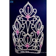 Wunderschöne Strass große Schönheitswettbewerb Kronen mit rosa Kristall, rosa Kristall Braut Blume Krone, benutzerdefinierte Namen Tiaras