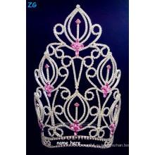 Великолепный горный хрусталь больших конкурсов красоты короны с розовым кристаллом, розовый кристалл свадебный цветок корону, настроить имя диадемы