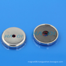 permanet ferrite round base ceramic magnet hole