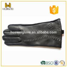 Mulheres personalizadas e luvas de couro de pele de carneiro de inverno de homens de Lixian