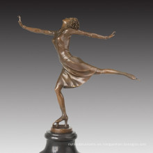 Figura Deporte Estatua Patinando Señora Escultura De Bronce TPE-1025