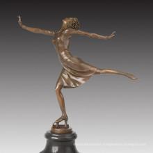 Sports Figure Statue Skating Lady Bronze Sculpture TPE-1025