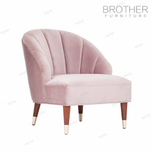 Silla de sofá de madera acolchada con tela rosa moderna estilo americano con respaldo alto