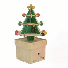 FQ marque en bois arbre de Noël boîte à musique bricolage main manivelle boîte à musique de Noël