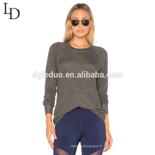 Nouveau design à manches longues backless sexy mince pull à capuche gris pour les femmes