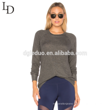 New design long sleeve backless sexy thin grey pullover hoodie for womens