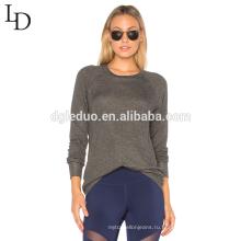 Новый дизайн с длинным рукавом спинки сексуальные тонкий серый пуловер толстовка для женщин