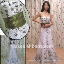 RSW-41 YIAI Popular Factory Outlet Hermosa Emboridery Y De Perlas De Oro Brillante Sash Damas Moda Vestido De La Boda