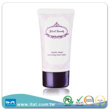 Tubo de cosméticos de plástico oval pequeno e personalizado para creme de creme facial feminino