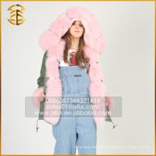 Nuevo estilo de moda barata falda de piel de zorro con capucha Parka