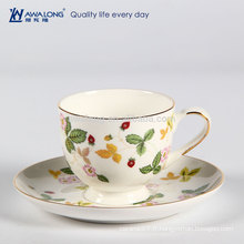 Good Transmittance Fine Porcelain Bone China Silicone Coffee Cup Holder et Saucer For Vending