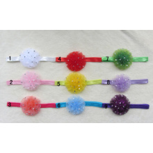 Hair Accessory Net Yarn Satin Flower Diamond Beads Carnation Elastic Skinny Headbands For Baby Girls Hairbands