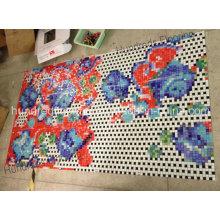 Carré de motif en mosaïque de verre à motif de fleurs (HMP812)