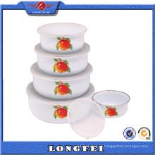 Verde e Eco-Friendly Fruit Bowl Metal com Decalque de frutas