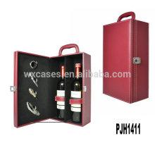 Neue Ankunft Leder Wein-Box für 2 Flaschen hohe Qualitätshersteller