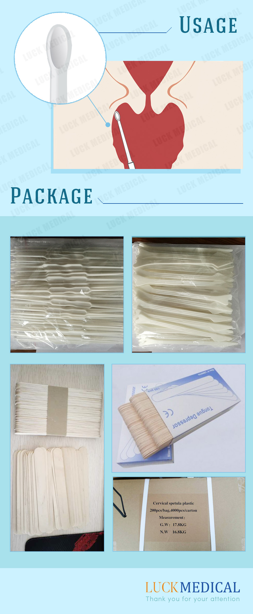 Package Medical Disposable Cervical Cell Sampling Spoon Cervical Spatula