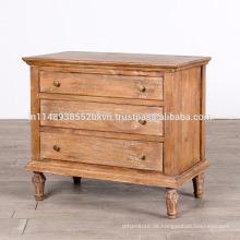 Antike Massivholz Mango weiß waschen 3 Schublade Schlafzimmer Kommode