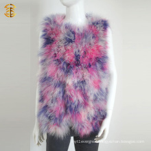 Lady Women Fashion Real Feather Fur Vest Knitting Fur Gilet