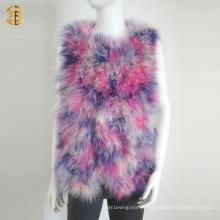 Lady Women Fashion Camisola de penas de penas reais Gilet de malha de malha
