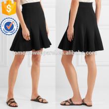 Preto Plissado Crepe Mini Saia OEM / ODM Fabricação Atacado Moda Feminina Vestuário (TA7003S)