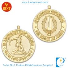 Высокое качество Подгонянные 3D в обе стороны Золотая Юбилейная медаль Плакировка цинка сплав