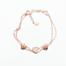 Sterling Silver 925 Jewelry Adjustable Rose Gold Love Heart Chain Charm Bracelet