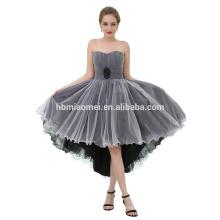 Usine Custom Made Off-épaule courte avant longue robe de soirée noire en mousseline de soie blanche retour